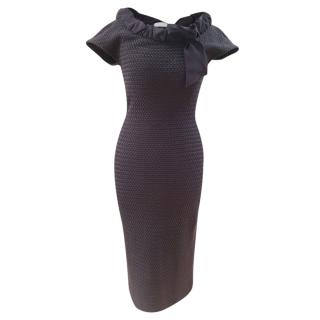 Christian Dior Blue Knit Bow Detail Fitted Dress