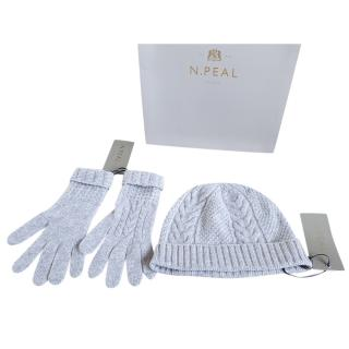 N.Peal Grey Cashmere Hat & Gloves Set