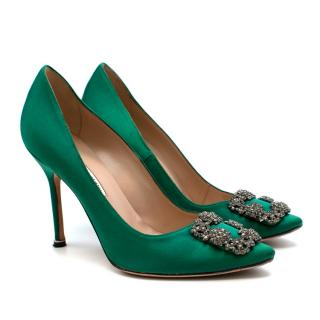 Manolo Blahnik Green Hangisi Satin Jewel Buckle Pumps