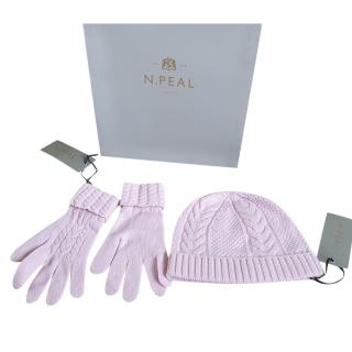 N.Peal Pink Cashmere Cable Knit Gloves & Hat Set