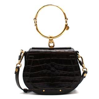 Chloe Brown Croc Embossed Leather Nile Bracelet Bag
