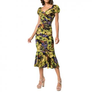 Dolce & Gabbana Grape-Print Fluted Midi Dress