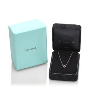 Tiffany & Co. Platinum Set Diamond Heart Necklace