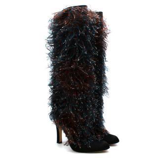 Manolo Blahnik Red & Blue Satin Textured Heeled Boots