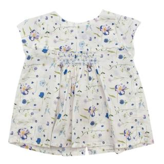Fleurisse White Floral Cotton Smocking Dress