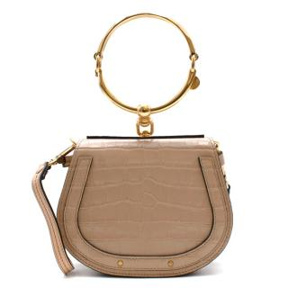 Chloe Cream Croc Embossed Leather Nile Bracelet Bag