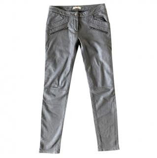 Bel Air Grey Lambskin Leather Pants