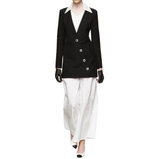 Chanel Runway Black Asymmetric Silk & Linen Blend Jacket