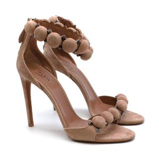Alaia Bombe 90 Studded Suede Sandals