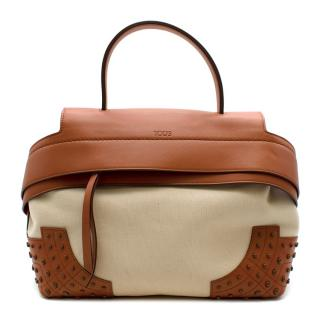 Tods Beige Canvas & Tan Leather Overflap Briefcase Bag