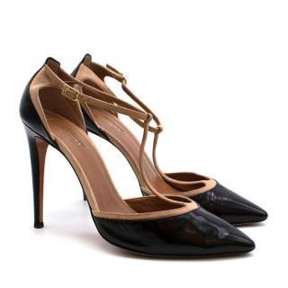 Aquazzura Firenze Black Patent Heels & Nude Suede