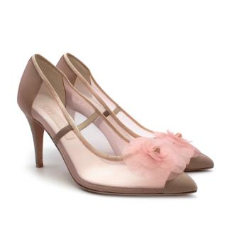 Chanel Pink/Nude Mesh Camellia Pumps