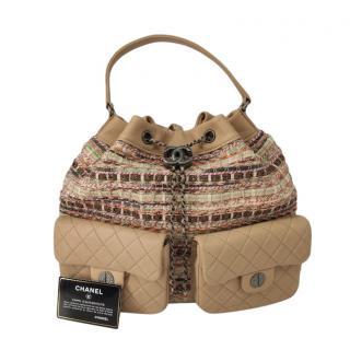 Chanel Tweed & Leather Beige Drawstring Backpack
