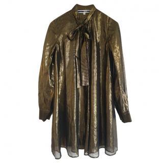 McQ by Alexander McQueen Gold Silk Shirt Dress
