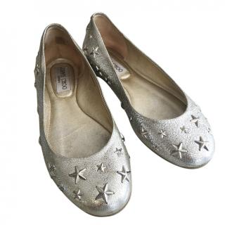 Jimmy choo Star Applique Silver Ballerinas