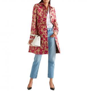 Valentino Gold & Pink Brocade Tussah Silk Coat