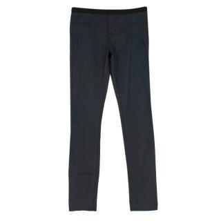 Helmut Lang Blue Waxed Denim Skinny Fit Leggings
