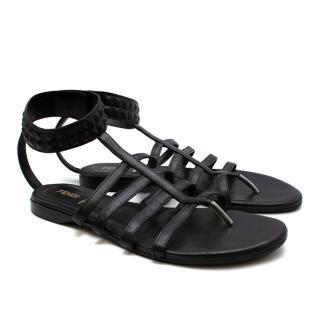 Fendi Black Leather Gladiator Sandals