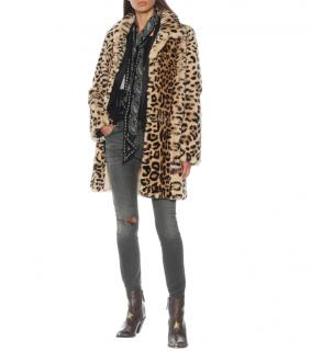 Yves Salomon Meteo Rabbit Fur Leopard Coat