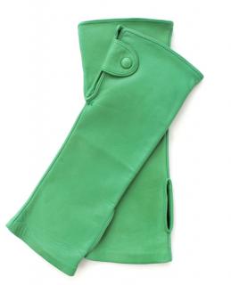 Ermanno Scervino Green Lambskin Fingerless Gloves