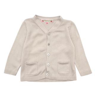Bonpoint Beige Cotton Knit Cardigan