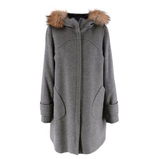 Sportmax Grey Wool Fur Trimmed Hooded Coat