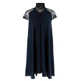 Maria Grachvogel Navy & Black Lace Detailed Silk Dress