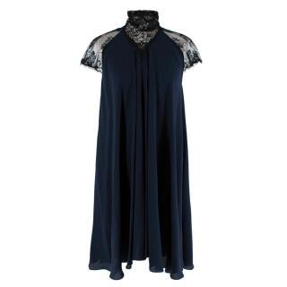 Maria Grachvogel Navy & Black Lace Detailed Silk Dress