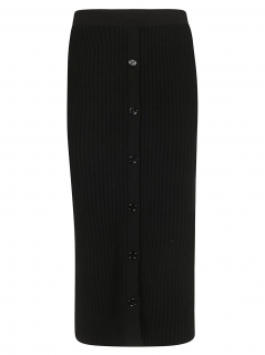 Celine Black Ribbed Knit Button Front Skirt