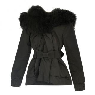 Moncler Black Fox Fur Trimmed Puffer Coat