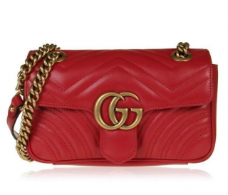 Gucci Red Marmont Matelasse Mini Shoulder Bag