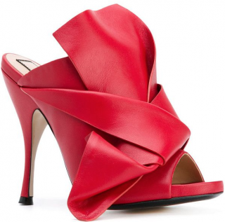 No.21 Red Leather Bow Mules