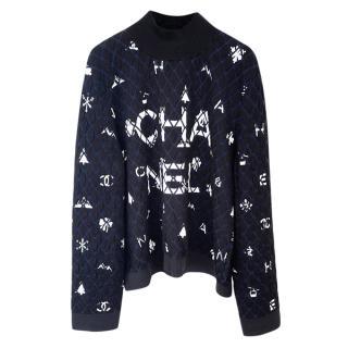Chanel Black Quilted Logo Cashmere & Silk Jumper