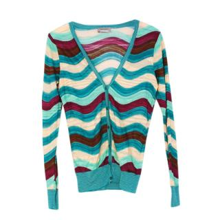 Missoni Blue Woven Knit Cardigan