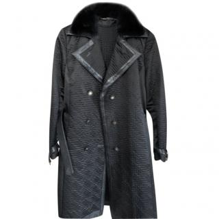 Versace Double Breasted Faux Fur Trimmed Trench Coat
