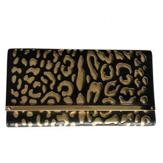 Jimmy Choo Black & Gold Leopard Clutch