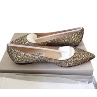 Jimmy Choo Coarse Gold Glitter Ballerinas