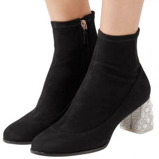 Sophia Webster Crystal & Faux Pearl Heel Black Suede Boots