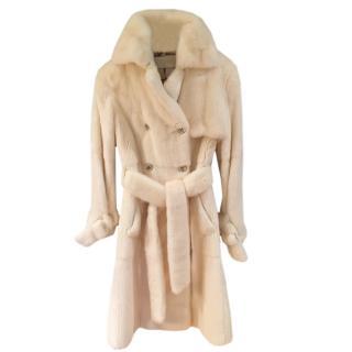 Valentino Cream Mink Fur Trench Coat