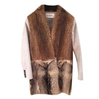 Valentino Wool & Cashmere Fox Fur Paneled Coat