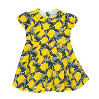 Bonpoint Yellow & Geen Lemon Print Cotton Short Sleeve Dress