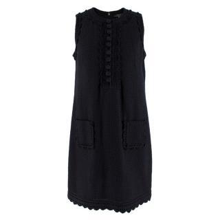 Andrew GN Black Sleeveless Textured Cotton Dress