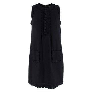 Andrew GN Black Sleeveless Textured Cotton Dress