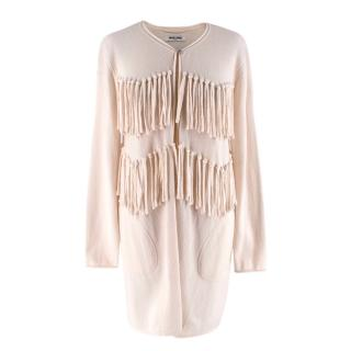 Max & Moi Ivory Wool & Cashmere Blend Fringed Knit Cardigan