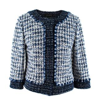 St John Blue & White Tweed Cropped Jacket