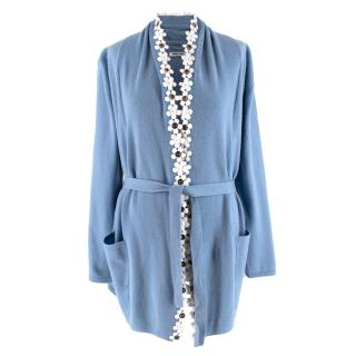 Max & Moi Blue Wool & Cashmere Blend Flower Trimmed Cardigan