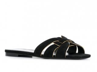 Saint Laurent Black & Gold Suede Flat Tribute Sandals