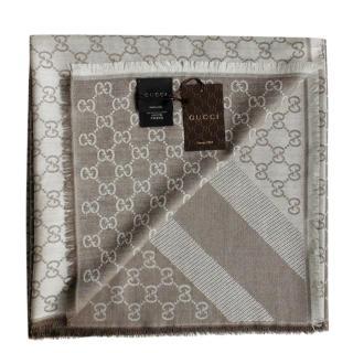 Gucci Supreme Monogram Reversible Wool & Silk Scarf