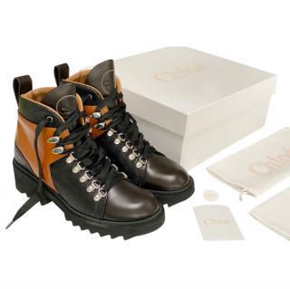 Chloe Leather Lizard Embossed Bella Hiker Boots
