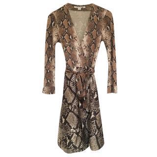 DVF Amelia Snakeskin Print Wrap Dress
